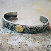 Japanese Style Floral Engraved, Golden Angel's Feathers Bangles