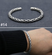 Braided Cuff Bracelet Heavy Braided Solid 925 Sterling Silver Bangle Bracelet