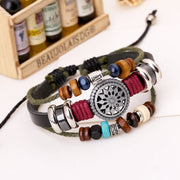Set of 3 Charms Leather Bracelets