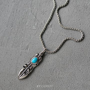 Goro's Style Turquoise Decal Feather Titanium Steel Pendant Necklace
