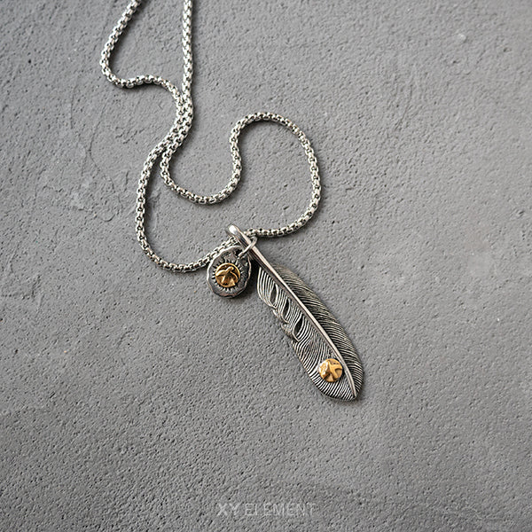 Takahashi Goro Style Titanium Steel Feather Pendant Necklace