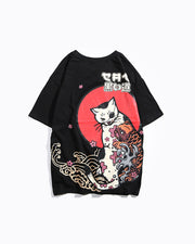 Cat with Eye Patch Japanese Graphic Tee Shirt
