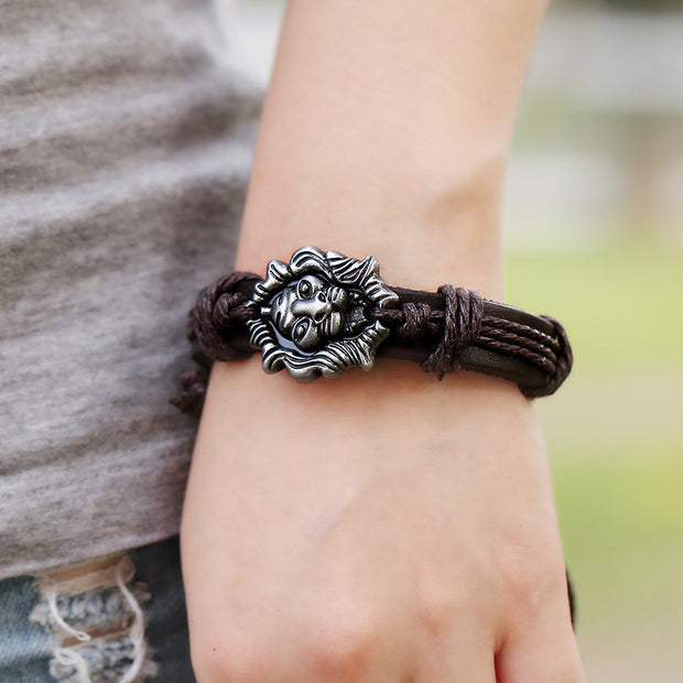 Boho Style Lion Charm Leather Bracelet