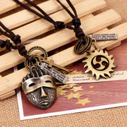 Tribal Mask Fire Wheel Cross Charms Leather Adjustable Necklace