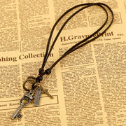 Crown Key Metal Pendant Cross Charms Leather Cord Necklace