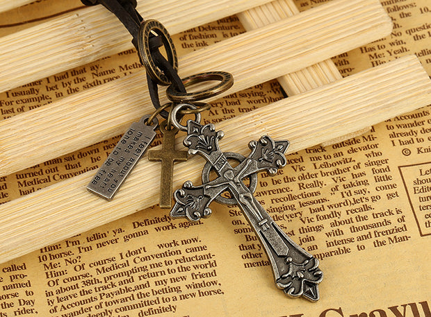 Cross Pendant Metal Charms Leather Necklace