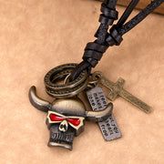 Lion Bull Metal Charms Adjustable Leather Cord Necklace