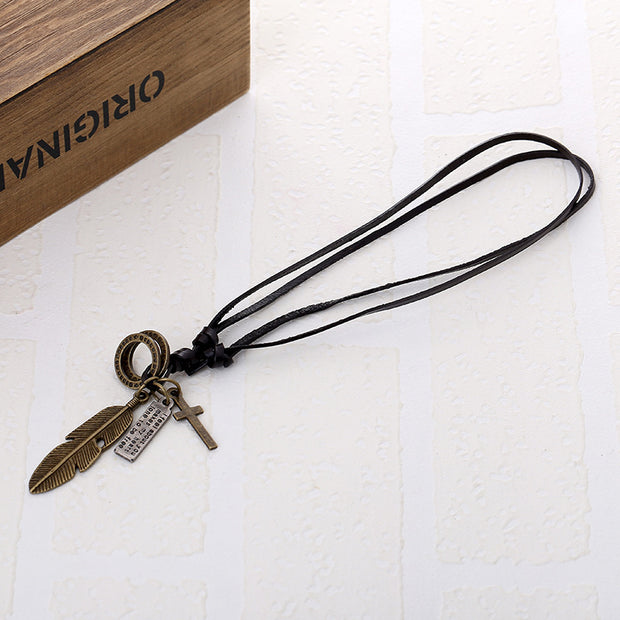 Feather Pendant Cross Charms Leather Cord Necklace