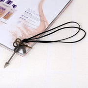 Arrow Pendant Cross Charms Leather Cord Necklace