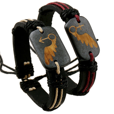 Boho Wooden Charm Leather Bracelet [2 Colors]