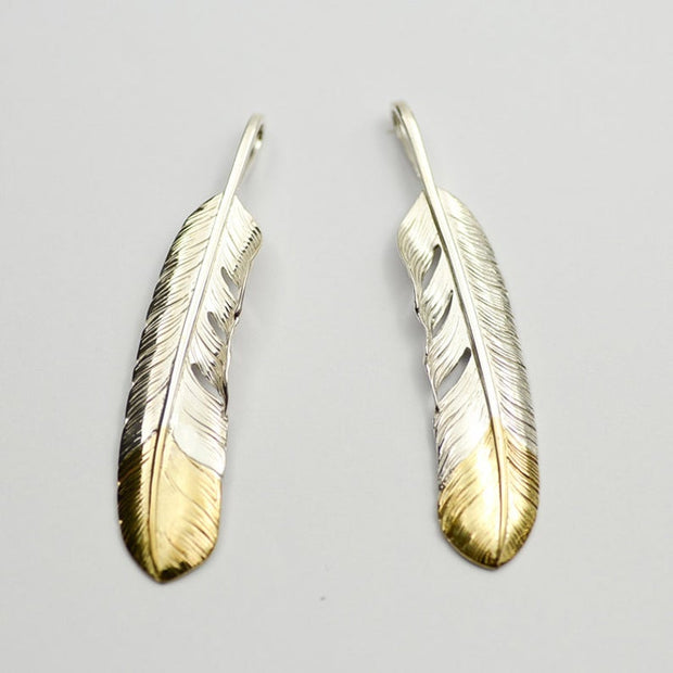 18K Gold Tip Silver Feather Pendant