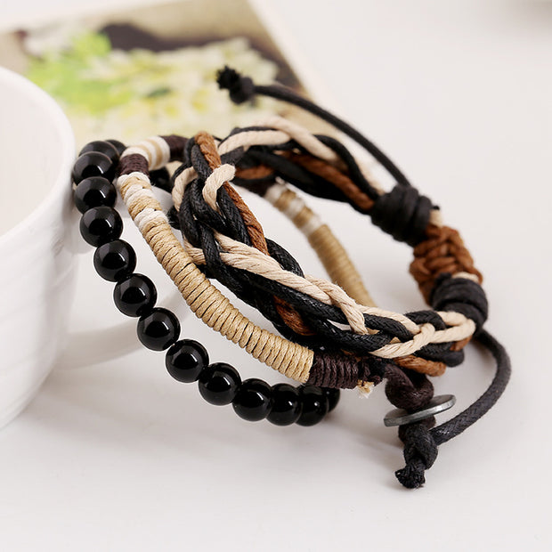 Set of 4 Wooden Beads Leather Braided Bracelets