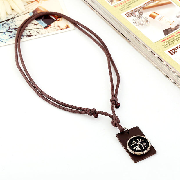 Genuine Leather Tag Cross Floral Pendant Adjustable Necklace
