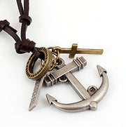 Anchor Metal Pendant Cross Charms Leather Necklace