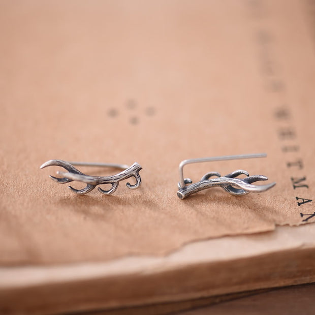 Silver Antlers Deer Horn Earrings