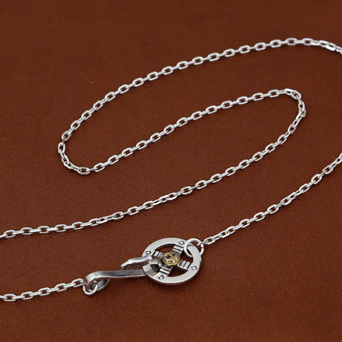 Goro Style Silver Spread Eagle Necklace