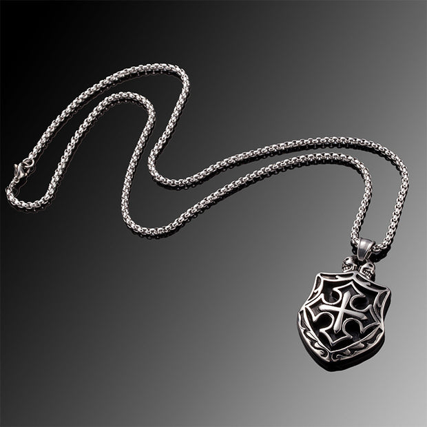 Cross Shield High Quality Titanium Steel Pendant Necklace