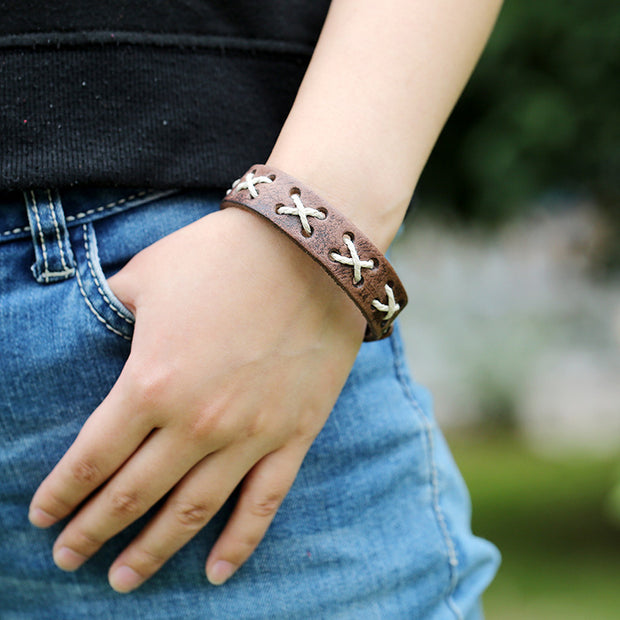 Vintage Style Woven Rope X Stitch Leather Bracelet