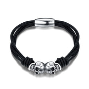 Multilayer Black Leather Cord Titanium Skull Bracelet