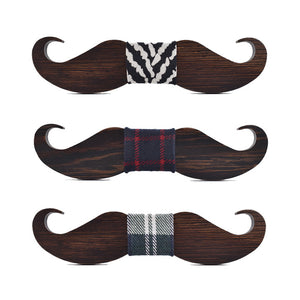 Beard Shape Wenge Wooden Bow Tie