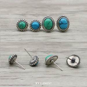 Goro Style Native American Turquoise Solid 925 Silver Stud Earring [2 Variations]