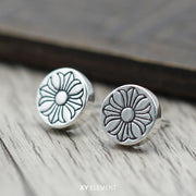Cross Floral Solid 925 Sterling Silver Stud Earring