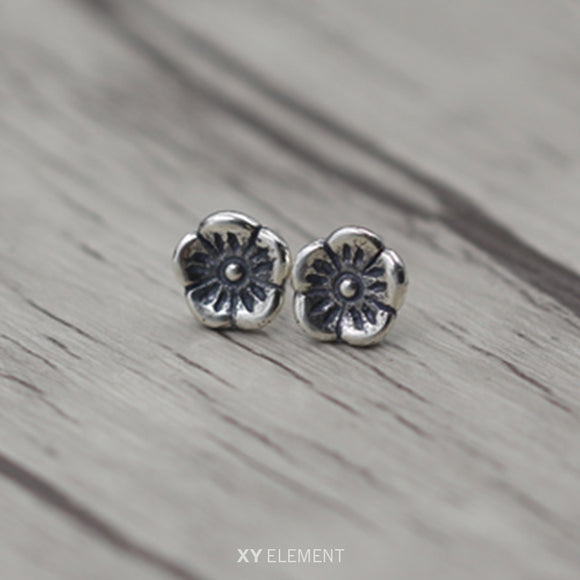Japanese Rose Solid 925 Sterling Silver Stud