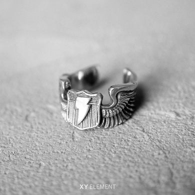 WWII US Army Air Force Flying Tigers Pilot Flash Wings Titanium Steel Ring