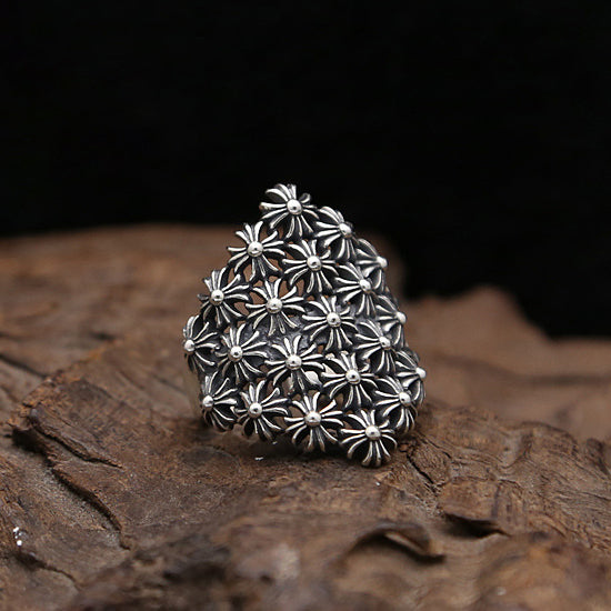 Floral Cross XBall Ring Chrome Hearts Style Solid 925 Sterling Silver