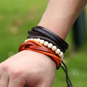 3 Pcs Leather Wood Beads Bracelets