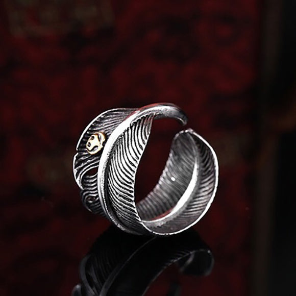 Takahashi Goro Style Feather Thunderbird Tag Titanium Ring
