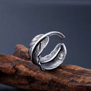 Goro Style Feather Wrap Stainless Steel Ring