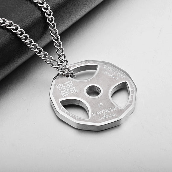 Fitness Gym Dumbbell Weight Plate Titanium Steel Necklace