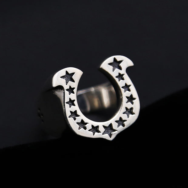 Horseshoe Stars Ring Solid 925 Sterling Silver