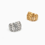 Minimalism Style Brick Hollow Design Ring Top Quality Titanium Stainless Steel