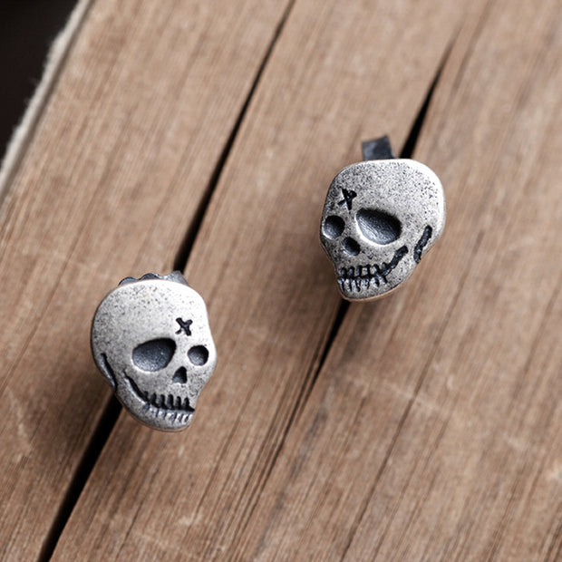 Minimalist Mini Stitch Skull Earring Gothic Punk Rocker Jewelry