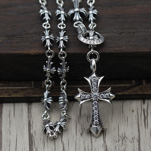 Cross Floral Cubic Zirconia Pendant Necklace Gothic Chrome Hearts Style 925 Sterling Silver Punk Rock Biker Jewelry