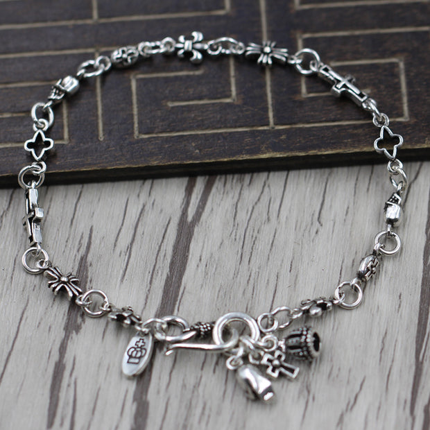 Floral Cross Crown Skull Dangle Charms Bracelet Chrome Hearts Style Gothic Punk Rock Jewelry