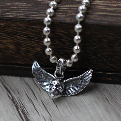 Skull Angel Wings Pendant 925 Sterling Silver