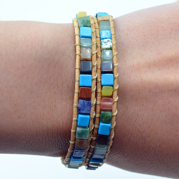 Bohemian Natural Stones Wrap Beaded Bracelet