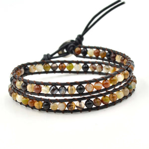 Natural India Beads Leather Wrap Bracelet [2 Variations]