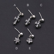 Floral Cross Dangle Stud Earrings 925 Sterling Silver Punk Rock Biker Earrings