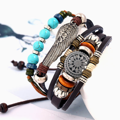 Set of 4 Charms Braided Leather Bracelets