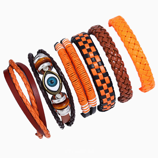6 Pcs Genuine Leather Braided Bracelets [6 Styles]