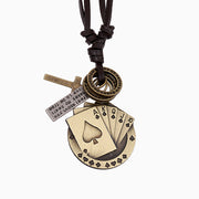 Poker Cards Cross Charms Genuine Leather Cord Necklace