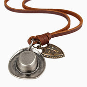 Cowboy Hat Cross Shield Charm Genuine Leather Adjustable Necklace
