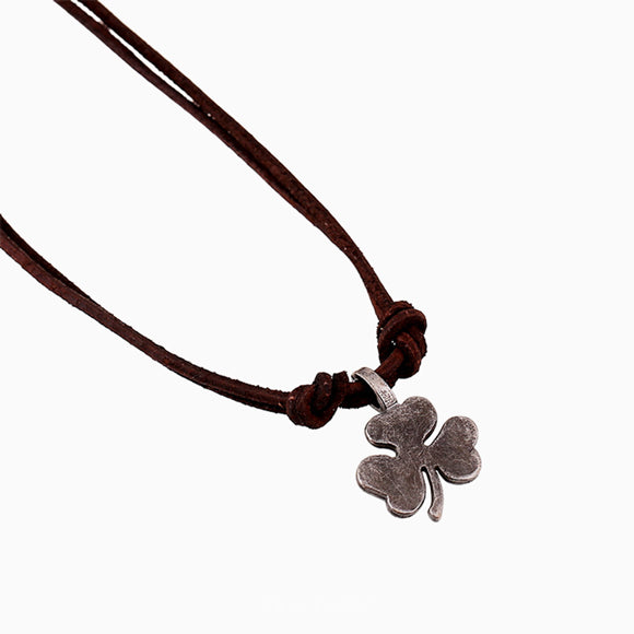 Clover Metal Pendant Leather Necklace Surfer Men's Choker