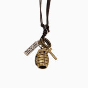 Metal Grenade Pendant Cross Charms Leather Necklace