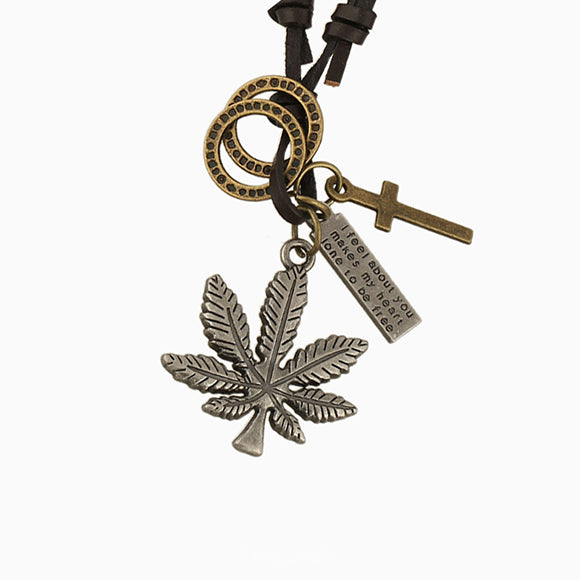 Leather and Bronze Cross Leaf Charm Pendant Adjustable Necklace