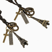Eiffel Tower Metal Pendant Cross Charms Leather Necklace